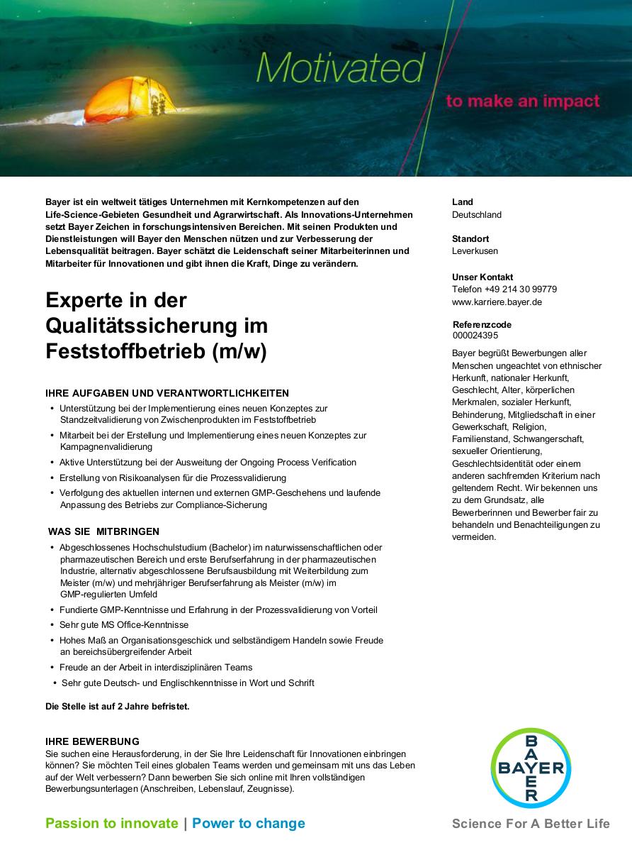 Experte in der Qualitätssicherung im Feststoffbetrieb (m / w) | Jobs ...