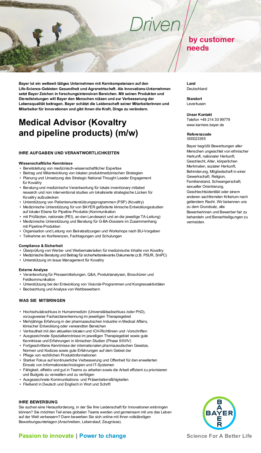medical advisor kovaltry and pipeline products m w jobs stellenangebote in leverkusen nordrhein westfalen pharma jobs - Bayer Bewerbung