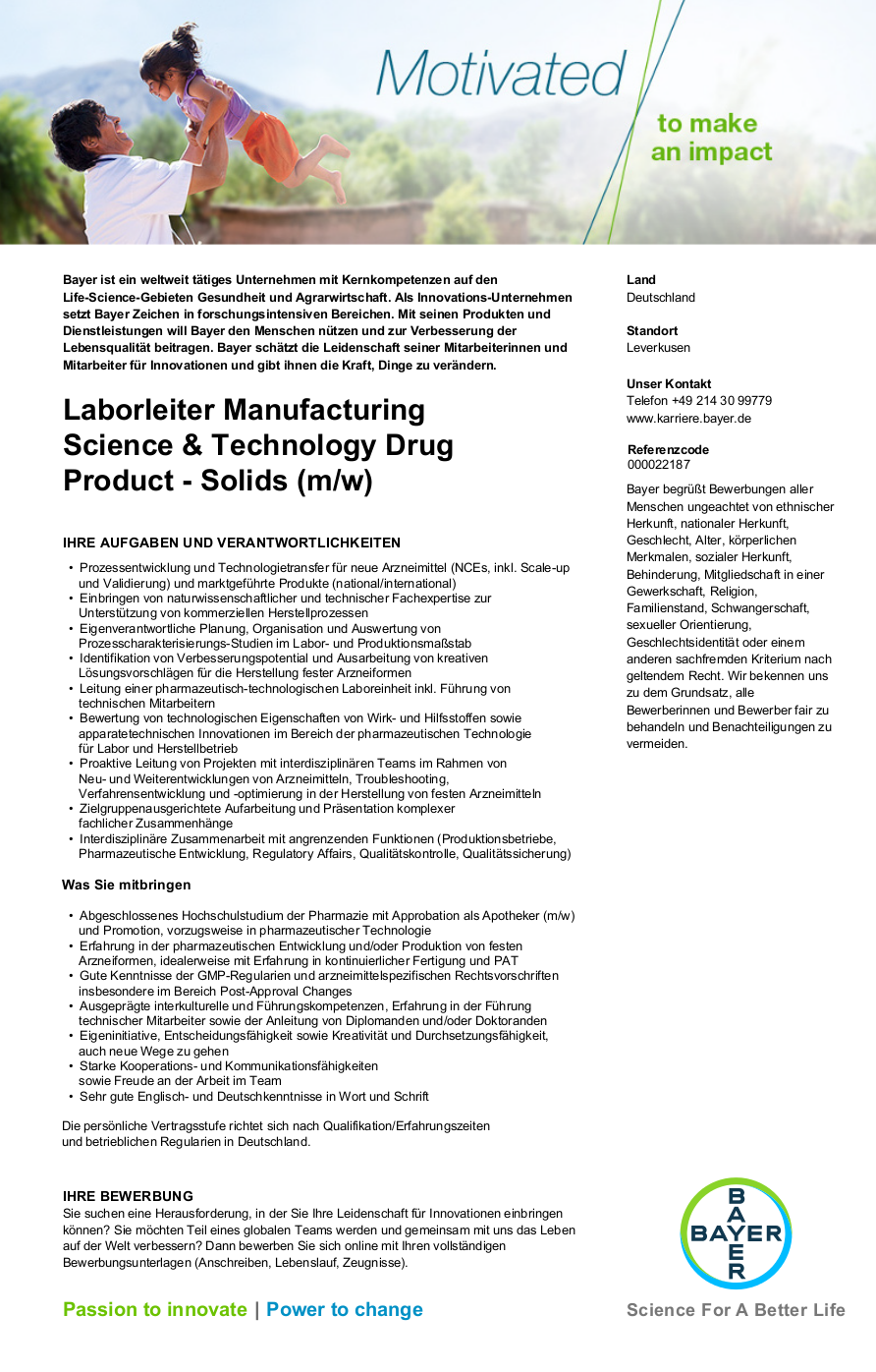 laborleiter manufacturing science technology drug product solids m w jobs stellenangebote in leverkusen nordrhein westfalen pharma jobs - Bayer Bewerbung