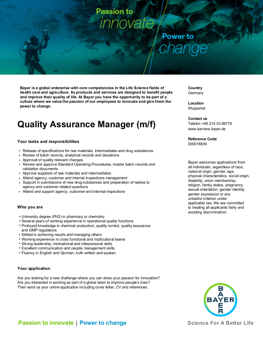 Quality Assurance Manager M F
